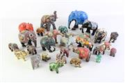Sale 8944T - Lot 665 - Large collection of elephant figures incl. enamelled and painted examples