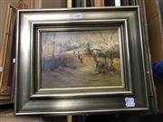 Sale 9028 - Lot 2030 - Norman Robins, Sunday Stroll, oil on board, 32 x 39cm (frame), signed lower right