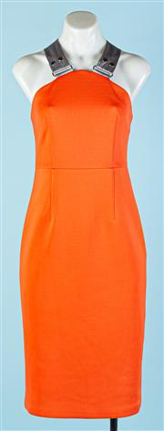 Sale 9090F - Lot 26 - A VICTORIA BY VICTORIA BECKHAM EVENING GOWN ; in atomic tangerine with silver/grey straps, Size M