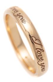 Sale 9083 - Lot 367 - AN 18CT GOLD TIFFANY & CO I LOVE YOU BAND; 3mm wide half round band, size H, wt. 2.76g, with boxes.