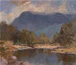 Sale 9125 - Lot 531 - William Rubery Bennett (1893 - 1987) The Wollondilly, Burragorang Valley oil on board 24 x 29 cm (frame: 42 x 47 x 3 cm) signed lowe...