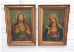 Sale 9126 - Lot 1185 - Pair of Early 20th Century Chromolithographs of Jesus & Mary, in gilt moulded frames (92 x 66 cm)