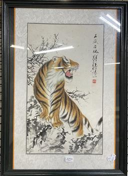 Sale 9135 - Lot 2094 - Chinese School Tiger ink and watercolour, 54 x 39cm, signed and stamped