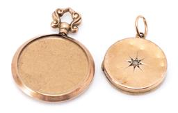 Sale 9182 - Lot 308 - TWO ANTIQUE LOCKET PENDANTS; double sided open locket with 9ct gold hallmarks for W.H.C, Birmingham 1906, size 33 x 24mm, wt. 3.10g,...