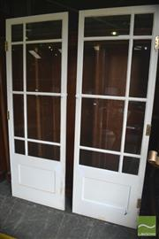 Sale 8326 - Lot 1403 - Pair Of White Timber And Glass Doors