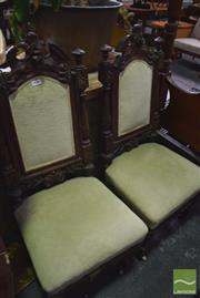 Sale 8347 - Lot 1012 - Pair of Carved Oak High Back Chairs, with pale green velvet upholstery & on castors