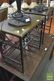 Sale 8338 - Lot 1635 - Pair of Metal Base Side Tables