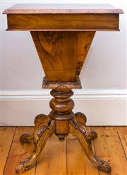 Sale 8435A - Lot 20 - A Victorian inlaid burr walnut sewing table, H 77cm