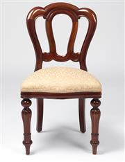 Sale 8518A - Lot 94 - A set of 8 vintage Admiralty back English mahogany dining chairs. The shaped seat fronts on ball and fluted legs. Ht: 91cm x W: 48cm...