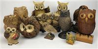 Sale 8725A - Lot 65 - A small group of decorative timber, resin and wicker owls