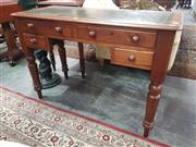 Sale 8917 - Lot 1049 - Victorian Mahogany Ladys Desk, with tooled green leather top, four drawers around a knee-hole & on turned legs
