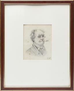 Sale 9123J - Lot 246 - A 19th Century pencil study of a man, initialed and dated 1886 lower right, framed size 33 x 26cm
