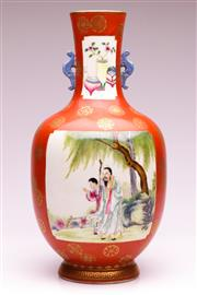 Sale 9081 - Lot 68 - A Red Glazed Chinese Twin Handled Vase H: 40cm