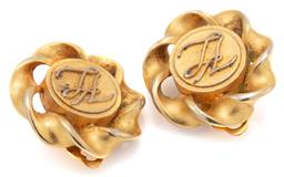 Sale 9090J - Lot 346 - A PAIR OF KARL LAGERFELD CLIP EARRINGS; monogrammed KL disc with twist surround with KL plaques to rear, diam. 27mm.