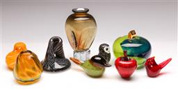 Sale 9131 - Lot 94 - Collection of art glass pieces inc Kosta Boda house on a hill (Dia:10cm), birds, lustre vase, apple, vase and figural piece