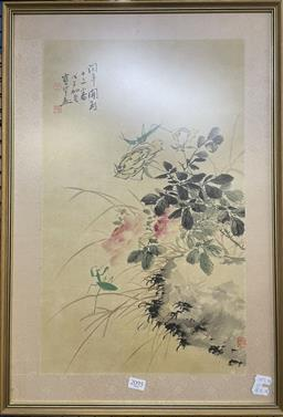 Sale 9135 - Lot 2095 - Chinese School Still Life and Praying Mantis ink and watercolour 63 x 43cm (frame) signed