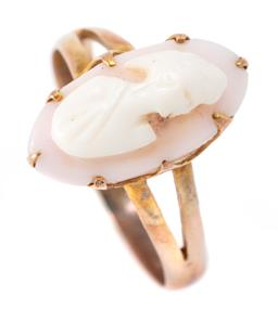 Sale 9169 - Lot 302 - AN ANTIQUE 9CT GOLD CAMEO RING; oval carved shell portrait, width 15mm, size O, wt. 2.27g.