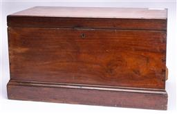 Sale 9185E - Lot 133 - A large timber lift top trunk, some losses, Height 49cm x Width 90cm x Depth 50cm