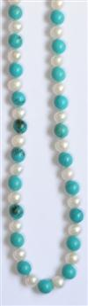 Sale 7652 - Lot 85 - A TURQUOISE AND PEARL NECKLACE;