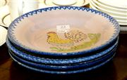 Sale 7997 - Lot 23 - SET OF FIVE FRENCH FAIENCE PLATES DECORATED WITH ROOSTERS