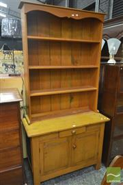 Sale 8255 - Lot 1015 - Early 20th Century Pine Dresser / Meat Safe, with open shelves, a drawer, two doors & mesh sides