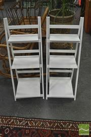 Sale 8299 - Lot 1056 - Pair of Painted Timber A-Frame Shelves