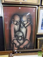 Sale 8407T - Lot 2051 - David Mbele (1940 - ) - Three Figures 80 x 59cm
