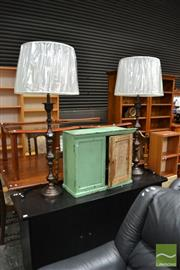 Sale 8472 - Lot 1011 - Pair of Gunmetal Finish on Brass Tall Table Lamps (5781)