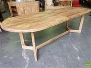 Sale 8499 - Lot 1097 - Recycled Elm Oval Dining Table on Y Shape Legs (250cm)