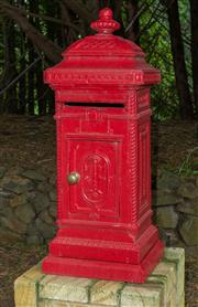 Sale 8677A - Lot 1 - Red cast iron letter box, Height 112cm