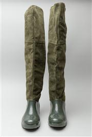 Sale 8740F - Lot 225 - A pair of Tosca Blu, Italian made knee-high green suede and rubber wellington boots, size 39