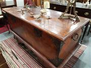 Sale 8740 - Lot 1172 - Indian Large Chest on Wheels with Metal Mounts