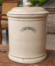Sale 9060H - Lot 2 - A Ceramic oatmeal crock pot with lid. Height 32cm