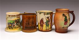 Sale 9119 - Lot 85 - A Crown Devon Widdicombe fair mug together with 3 others inc Royal Doulton (tallest 15cm)