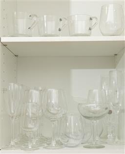 Sale 9239H - Lot 80 - A quantity of drinking glasswares including champagne flutes, wine glasses, etc.
