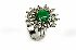 Sale 3808 - Lot 405 - AN 18CT WHITE GOLD EMERALD AND DIAMOND RING;