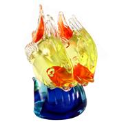 Sale 8000 - Lot 339 - A Murano glass double fish sculpture surfing on a wave with three polished pontil marks to base.