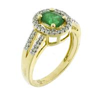Sale 8221A - Lot 38 - 14ct Gold Gem Set Cluster Ring; centering on an oval cut emerald, to shoulders and surround set with single cut diamonds totalling 0...