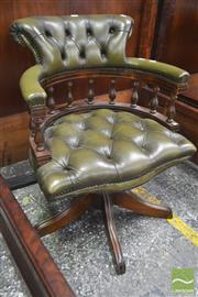Sale 8282 - Lot 1042 - Victorian Style Beech Office Chair, in green buttoned leather & turned gallery (no castors)