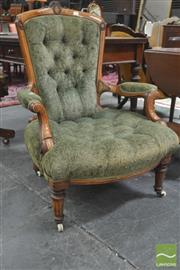Sale 8291 - Lot 1034 - Good Victorian Walnut Armchair, with carving & marquetry partly framed by brass beading, upholstered in green buttoned velvet, on tu...