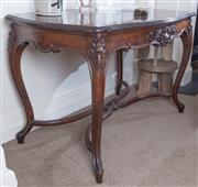 Sale 8800 - Lot 92 - A French carved walnut side table, with stretcher base, H 70 x W 110 x D 70cm
