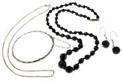Sale 8426 - Lot 508 - VINTAGE JEWELLERY; 9ct gold box chain, hallmarked silver bamboo bangle, jet earrings, and French jet necklace.