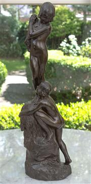 Sale 8435A - Lot 24 - A bronze style figural group of two nudes climbing onto a rock, H 52cm, after EA Clapp 1919