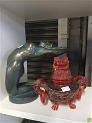 Sale 8563T - Lot 2432 - Nude Resin Sculpture with Resin Incense Holder