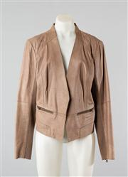 Sale 8740F - Lot 62 - A Halogen lambskin leather jacket with quilted stitching to the shoulders, size large