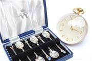 Sale 8715 - Lot 92 - Box Set Of Sterling Silver And Opal Coffee Spoons Together With ImHof Desk Ball Clock