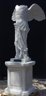 Sale 8857H - Lot 21 - A Carved White Marble Sculpture Winged Victory Of Samothrace Consists of two parts sculpture and base. After The Original Wing...