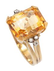 Sale 8915 - Lot 340 - A 14CT GOLD DIAMOND AND GEMSTONE COCKTAIL RING; centring an approx. 7.5ct emerald cut fine citrine between shoulders set with 6 sing...