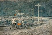 Sale 8966A - Lot 5067 - Kevin Oxley (1941-2016) - The Cricket Game 1970 17 x 24 cm (frame: 23 x 30 cm)