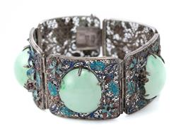Sale 9124 - Lot 420 - AN ANTIQUE CHINESE ENAMELLED SILVER JADE BRACELET; 5 silver filigree panels enamelled with chrysanthemums (losses), middle 3 claw se...
